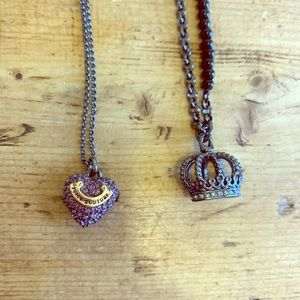 2 Juicy Couture Pave Heart and Crown Necklace